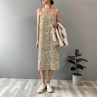 fashion women summer leopard print long dress sleeveless women elegant high quality dress summer dress dresses for women