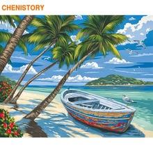 CHENISTORY-cadre de plage en bateau   Peinture à main par numéros, tableau dart mural moderne avec numéros, toile acrylique par numéros pour décors de maison