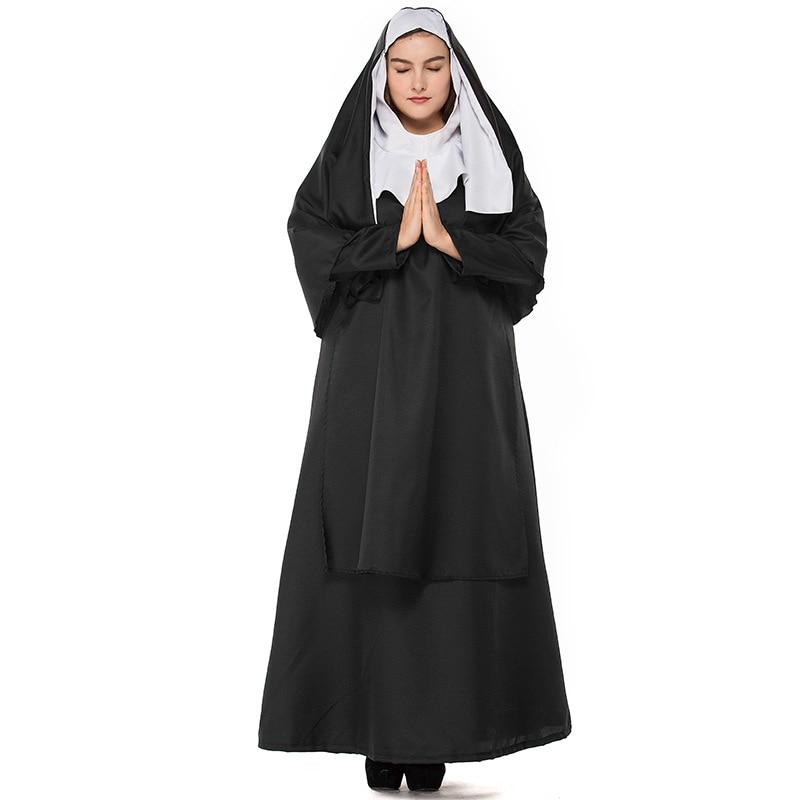 Jungfrau Maria Sexy Nonne Kostüme Klassische Nonne Uniform Erwachsene Frauen Cosplay Outfits Halloween Schwester Christian Missionar Phantasie Kleid