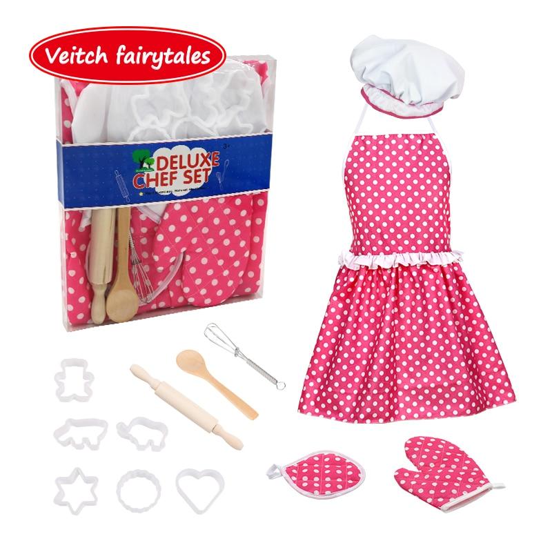 Veitch сказки, познавательные, Обучающие ролевые игры приготовление пищи выпечки инструменты детский Фартук Кухонный Набор игрушек для детей,...