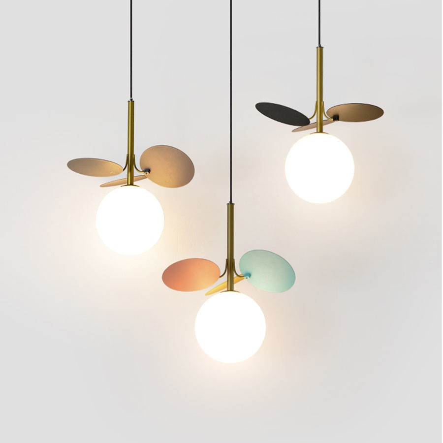 G4 الحديثة الأطفال غرفة قلادة LED ضوء الشمال كرة زجاجية شنقا مصباح غرفة نوم السرير مطعم مقهى ديكور مصابيح