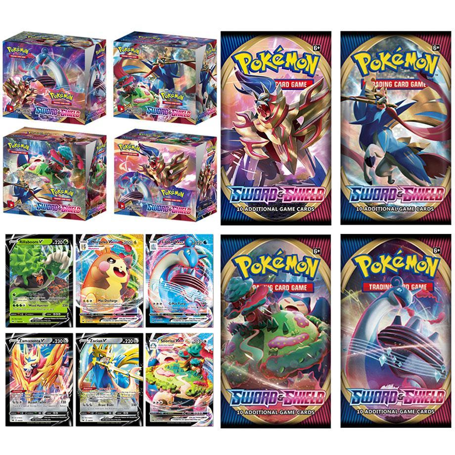 2020 324 pçs figuras de ação pokemon jogo de cartas de negociação conjunto caixa reforço espada escudo vmax nova edição inglês tomy crianças brinquedo