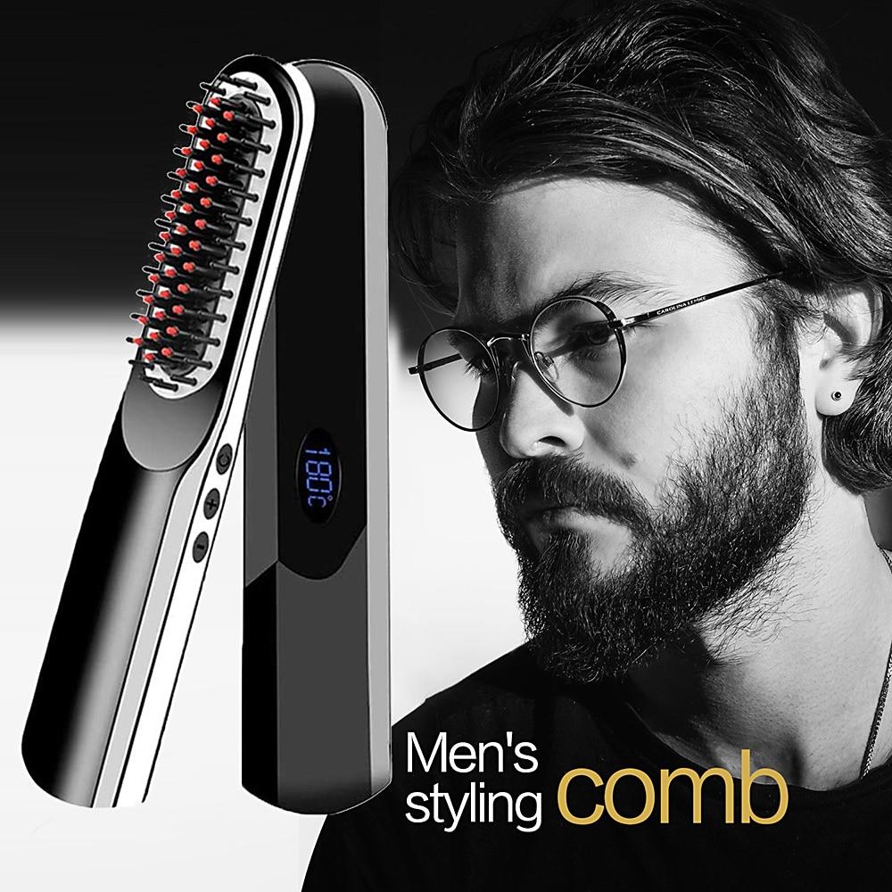 Wireless Mini Hair Comb Men's Quick Beard Brush Straightener Portable Electric USB Charging Combs Fo