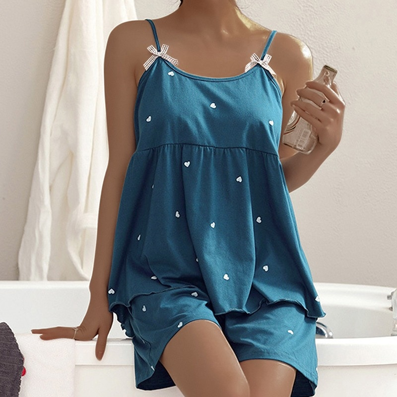 Pajamas Women's Summer Casual Pajamas Set Sexy Sleeveless Spaghetti Strap Pajamas Women Tops Shorts