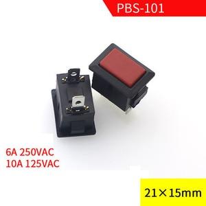 FREE SHIPPING 10 Pcs AC 250V/6A 125V/10A 2 Pin SPST Red Button Momentary Rocker Switch 1NO PBS-101