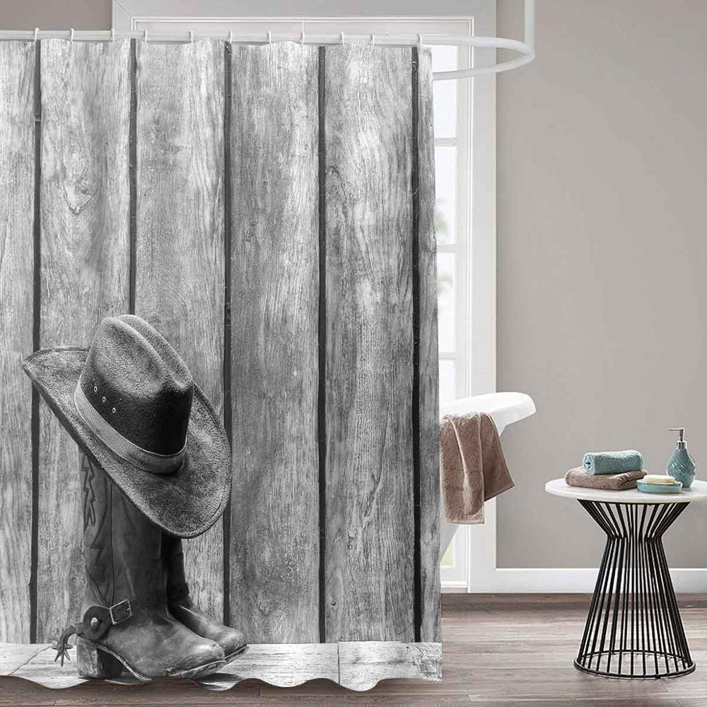 Desenhos animados Do Vintage Chuveiro CurtainArt de Cowboy Ocidental Equitação Para o Pôr Do Sol Cortina de Alta Qualidade À Prova D Água Para O Banheiro