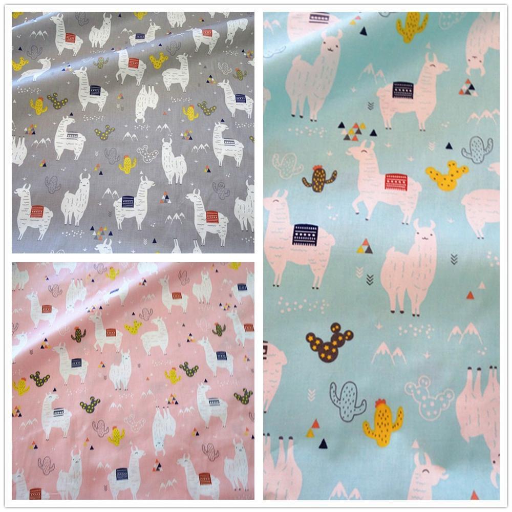 Tela de sarga de algodón de 50x160cm, funda de edredón DIY, blusa de bebé Azul, Gris, rosa, Alpaca JM925b