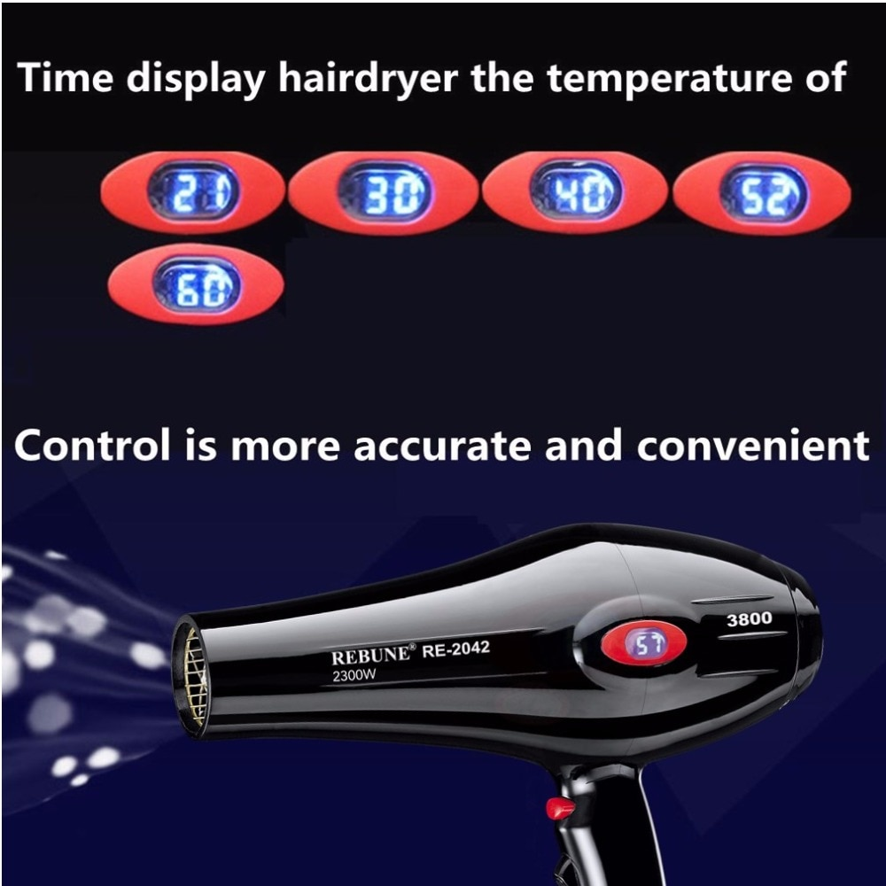 REBUNE 2300W 220V Hair Dryer Anion LCD Screen Constant Temperature Air Conditioning AC Motor Household Sharon Hair Dryer enlarge