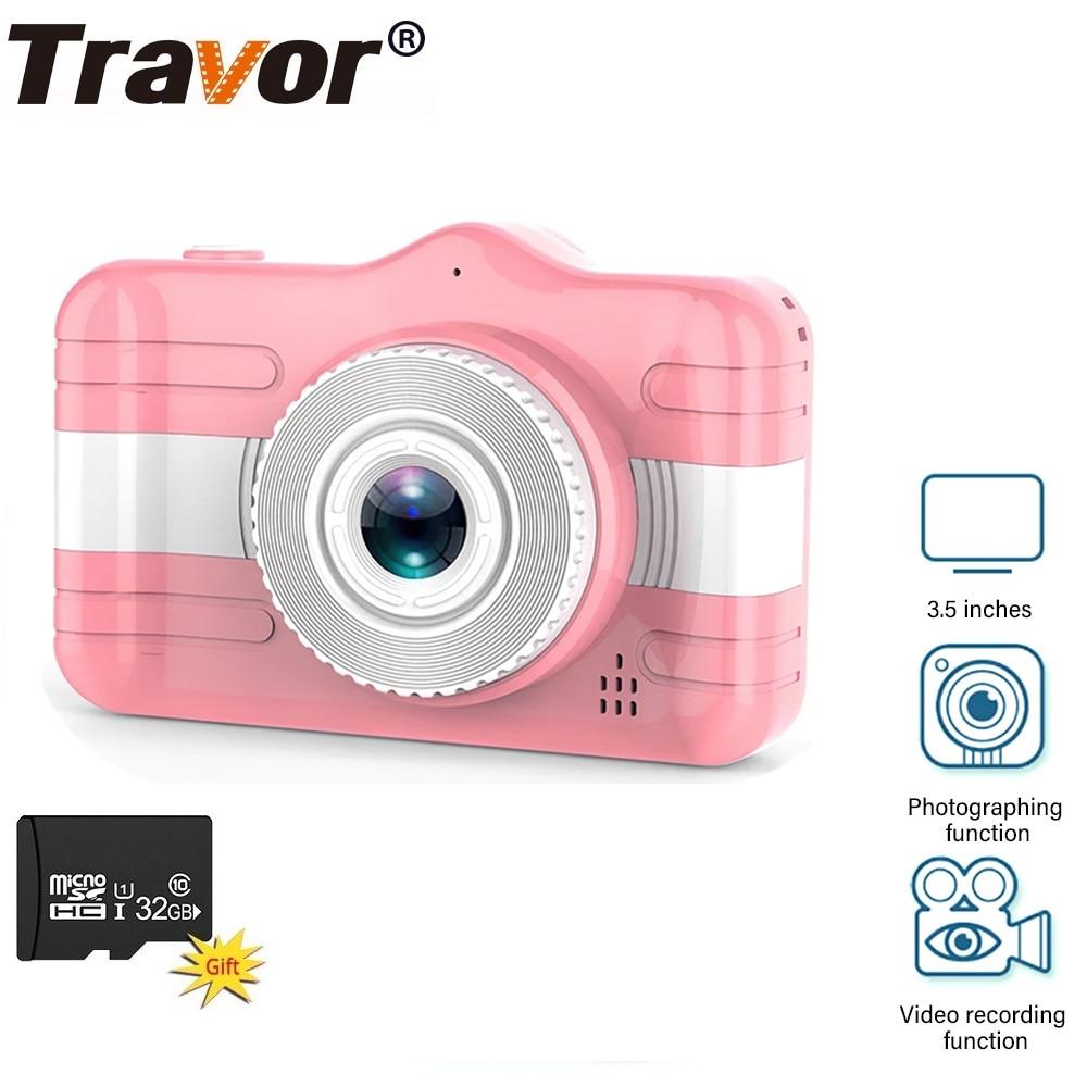 TRAVOR طفل صغير كاميرا HD 1080P 3.5 بوصة الأطفال كاميرا فوتوغرافية مسجل فيديو اللعب مع 32 جيجابايت TF بطاقة ل هدية عيد ميلاد