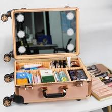 Roller Kosmetik Fall Make-Up Gepäck mit Licht Aluminium rahmen Koffer mit rad