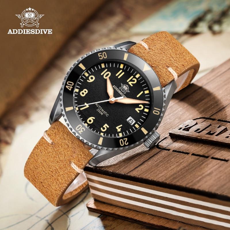 ADDIESDIVE Luxury Pilot Male Watch Sapphire Crystal Glass NH35 Automatic Super Luminous Dial Ceramic