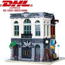 DHL 15001 Compatible 10251 ville série brique banque ensemble lepining briques de construction bloc rue vue ensemble enfants jouet cadeau de noël