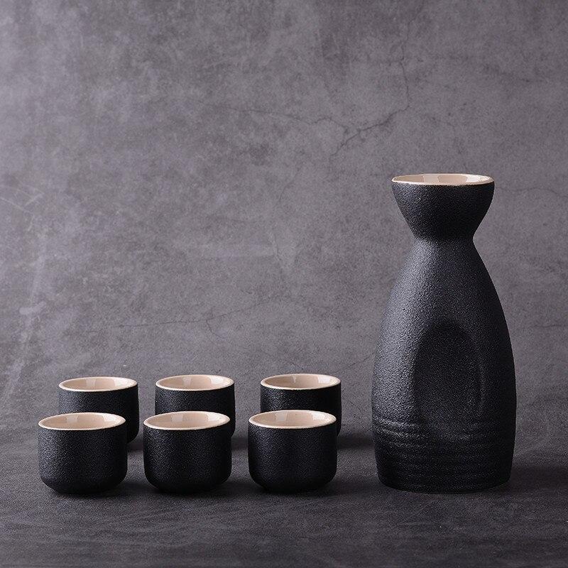 7Pcs/Set Creative Ceramic Vintage Sake Pot Wine Bottle Japanese Style Hip Flasks Kitchen Office Flagon Liquor Cup Drinkware Gift