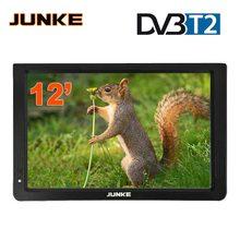 JUNKE HD Portable TV 12 pouces numérique et analogique téléviseurs Led Support TF carte USB Audio lecteur vidéo voiture télévision DVB-T2