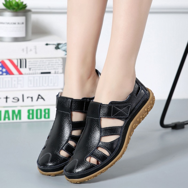 2021 Summer Women Sandals Hollow Breathable Leather Women's Sandals Round Toe Soft Sole Comfortable Beach Shoes Sandalias Mujer big bowtie women sandals round toe breathable air mesh female shoes shallow slip on low heels black summer sandalias mujer