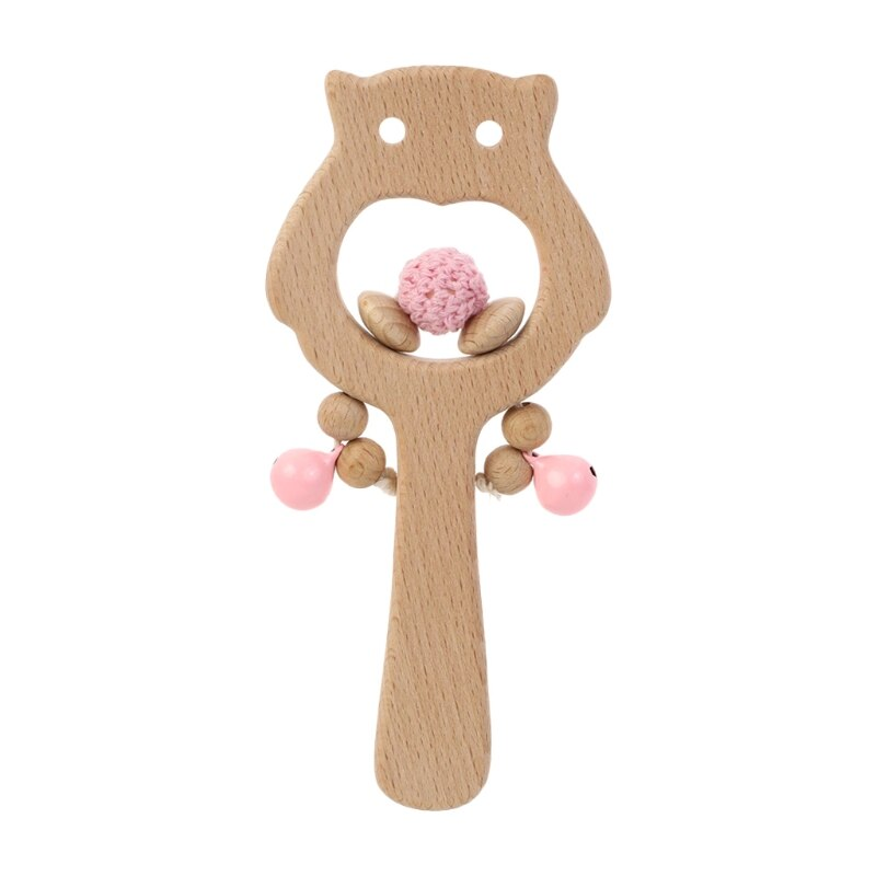 Baby Beech Owl Rattle Hand Teething Wooden Ring Infants Nursing Teether Soother Montessori Educational Toy Newborn Shower Gift