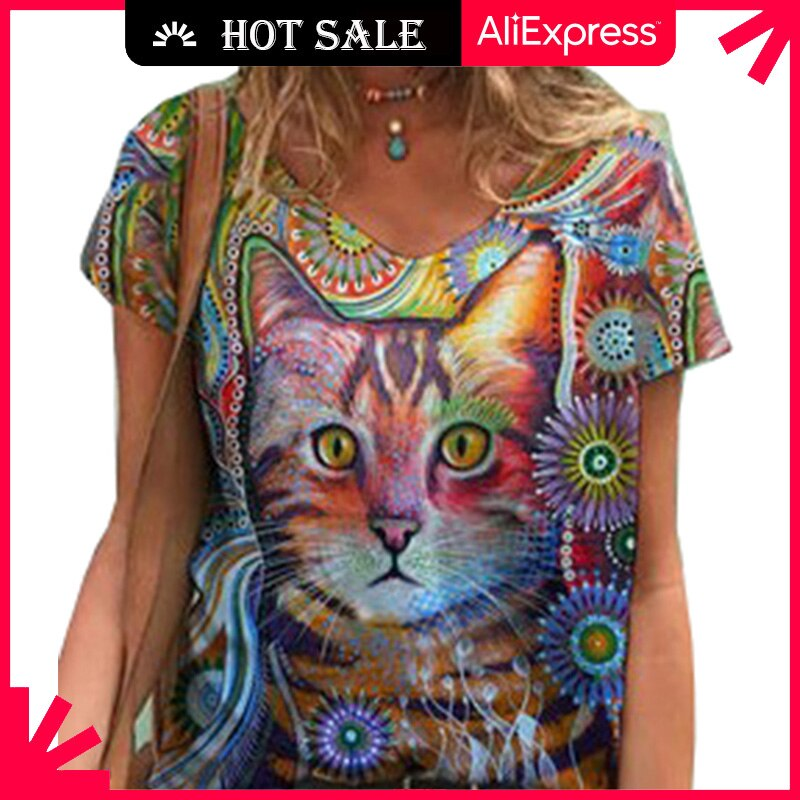 MOVOKAKA Summer Fashion Shirt Cat Print T Shirt Women Casual Tops Base V-neck Short Sleeves Tees Flower Print Funny Girls Tshirt