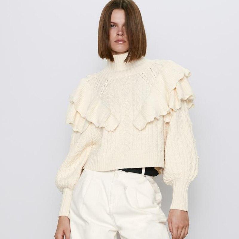 Jerseys de cuello alto sólido de AGong para mujer jersey con volantes en cascada para mujer jerseys de manga abullonada elegante para mujer JY