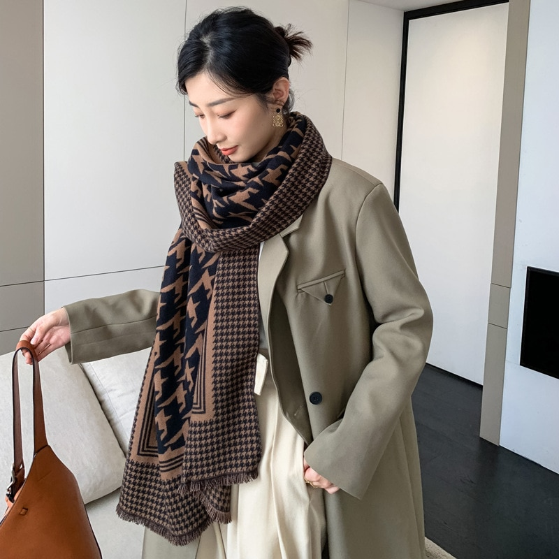 2021 new imitation cashmere women's scarf fashion thousand bird lattice long double-sided thickened scarf with cold proof shawl