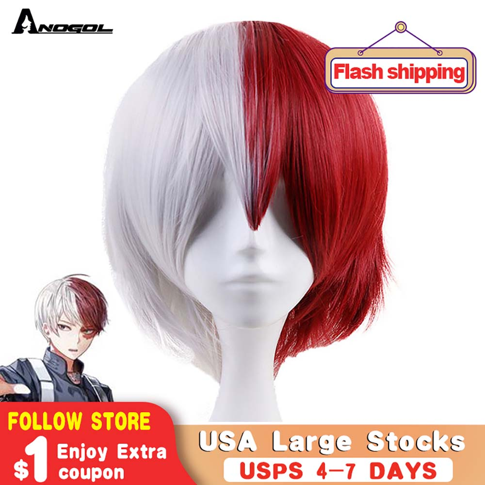 Anogol Anime My Hero Academy Shoto Todoroki Short Straight Half White And Red Synthetic Cosplay Wig For Halloween Costume Party