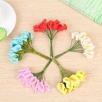 12pcs 9cm pompon mini pe foam calla heads artificial silk flowers bouquet for wreaths diy wedding scrapbooking fake calla flower