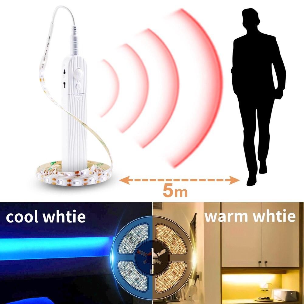Led Sensor de movimiento gabinete tira de luz interruptor de noche DIY ropero cocina armario PIR lámpara luces inalámbricas Led dormitorio Luz