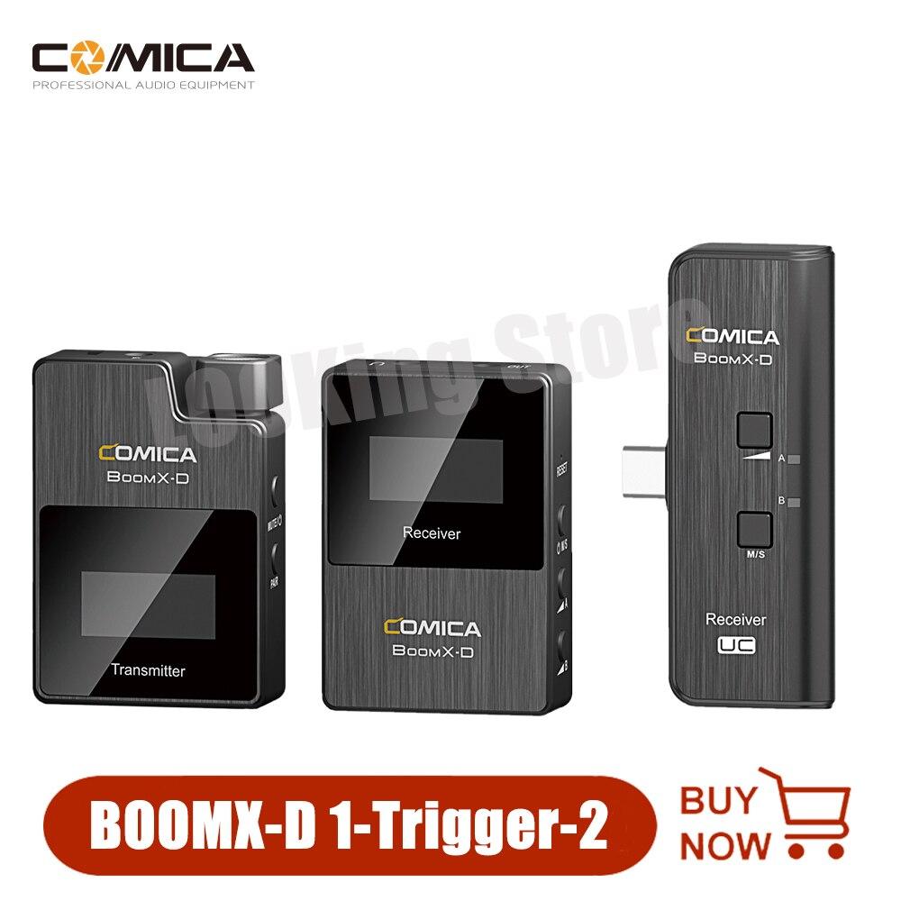Comica BoomX-D D2 2.4G نظام الميكروفون اللاسلكي الرقمي Lavalier التلبيب ميكروفون المحمول جهاز ريسيفر استقبال وإرسال عدة