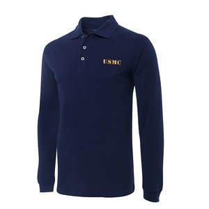 Polo for US Marine Corps Embroidery Long Sleeve Polo Shirts Embroidered Men's Shirts