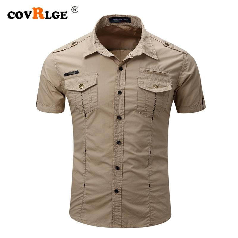Мужская рубашка, новая мужская рубашка-карго, модная повседневная рубашка, Летний стиль, 100% хлопок, однотонная мужская Повседневная рубашка...