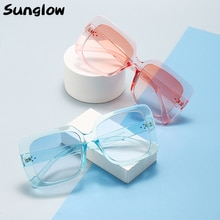 Sunglow sunglasses Women 2021 Rectangle Colored Glasses Stylish Shades with Large Frames Suitable fo
