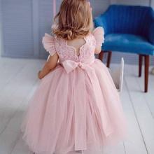 Nouveau rose gonflé Tulle dentelle haut bébé filles robes danniversaire dos nu ruban enfants vêtements robe de soirée pour les filles