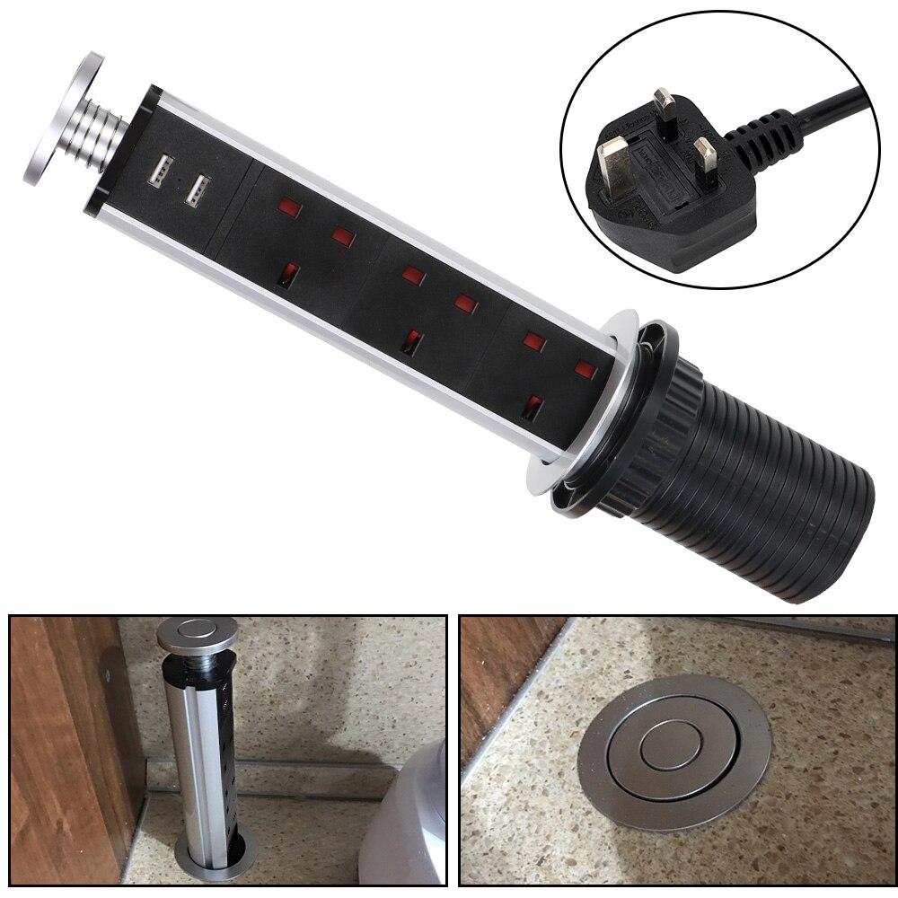 متعددة الوظائف المملكة المتحدة التوصيل مع منفذ شحن USB المطبخ سحب مقبس منبثقة رفع مخرج طاقة كهربائية سطح المكتب المقبس