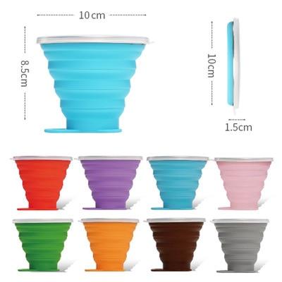 Дорожная чашка 270 мл, выдвижные складные чашки из нержавеющей стали и силикона, телескопические складные кофейные чашки, уличная спортивная...