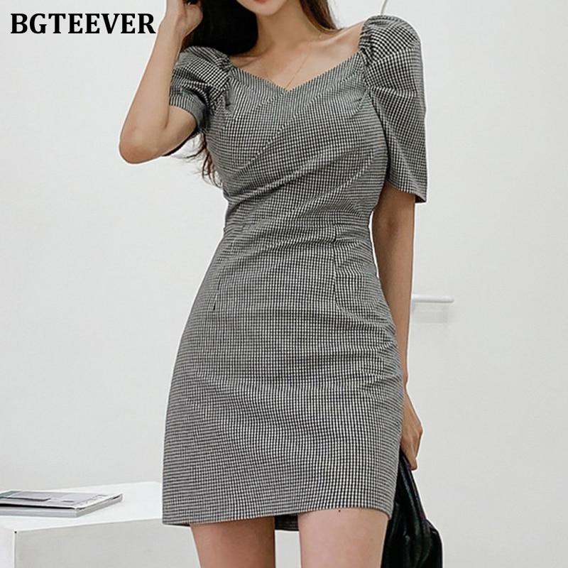 BGTEEVER Vintage V-neck Puff Sleeve Plaid Sheath Dress for Women Elegant Fashion Slim Waist Vestidos Femme OL Bodycon Mini Dress