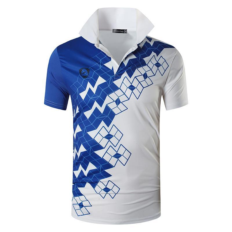 Camiseta Polo de deporte para hombres de Jean POLOS Polo de tenis de Golf bádminton de ajuste seco de manga corta LSL224 blanco