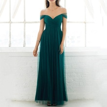 Nice Womens Tulle Long Evening Dress Wedding Party Cap Sleeves A-line Sweetheart Hunter Green Brides