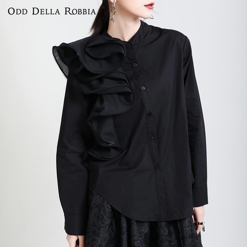 OddDellaRobbia ربيع جديد المرأة الفرنسية شخصية بلون البتلة قميص طويل الأكمام موضة ثلاثة الأبعاد بلوزة 1951