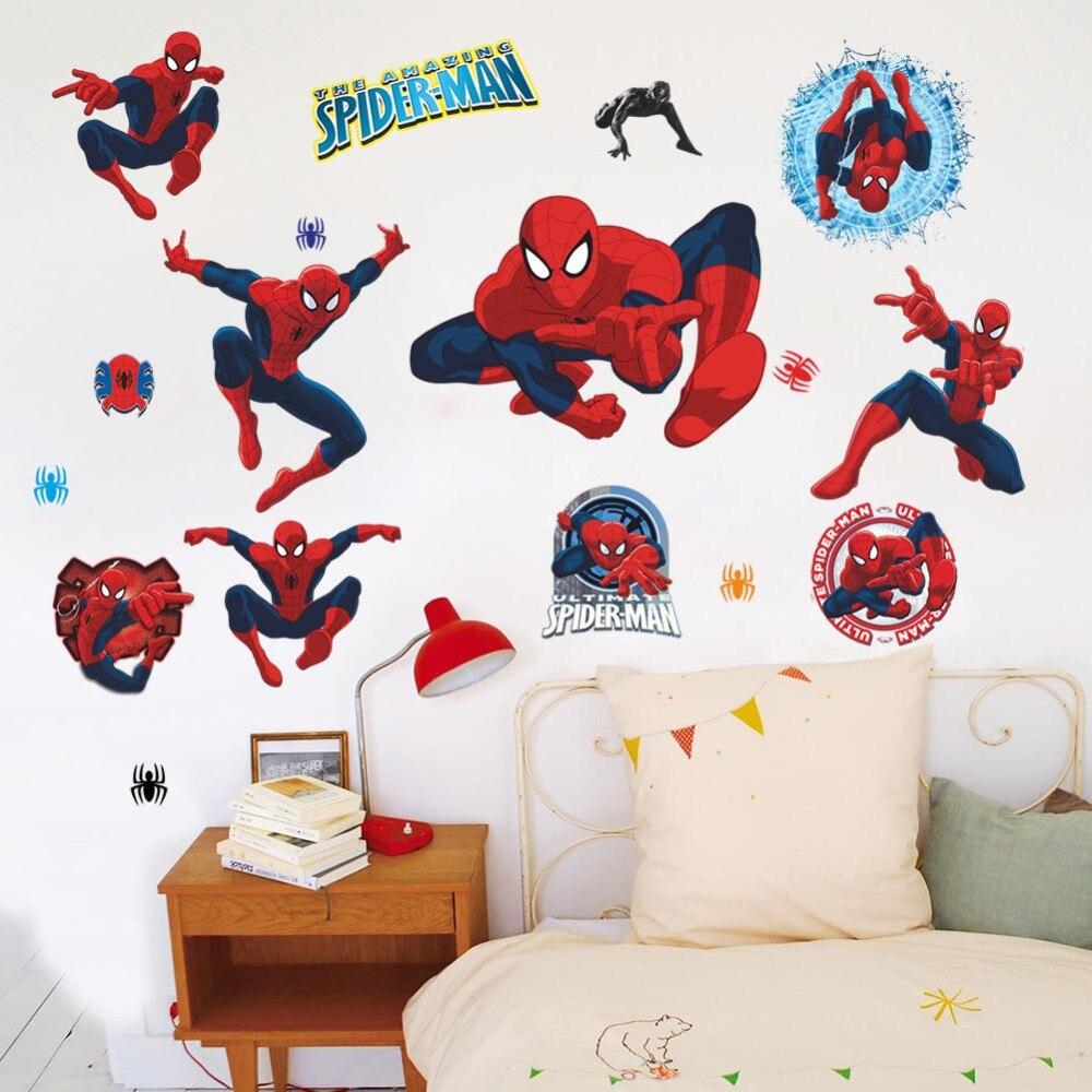 Disney Marvel personaje de película 3D dibujo de Spider-Man pegatinas de pared para niños pegatinas de pared de habitaciones decoración del hogar papel tapiz Mural