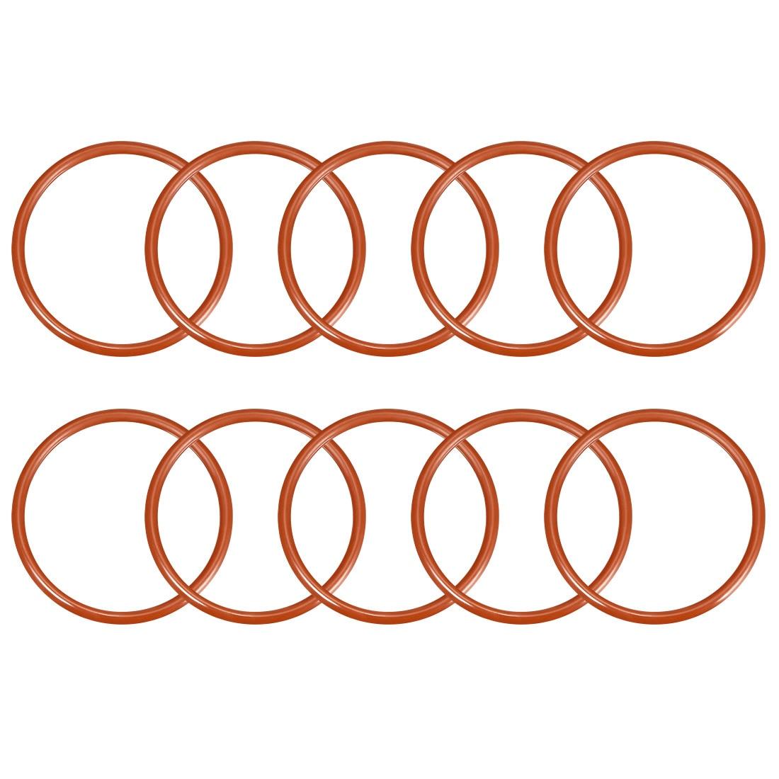 Anillos de silicona uxcell, anillos de sellado de 41mm-52mm de diámetro exterior, Junta de sellado de color rojo para intercambiador de calor de recipientes de reacción, 10 Uds.