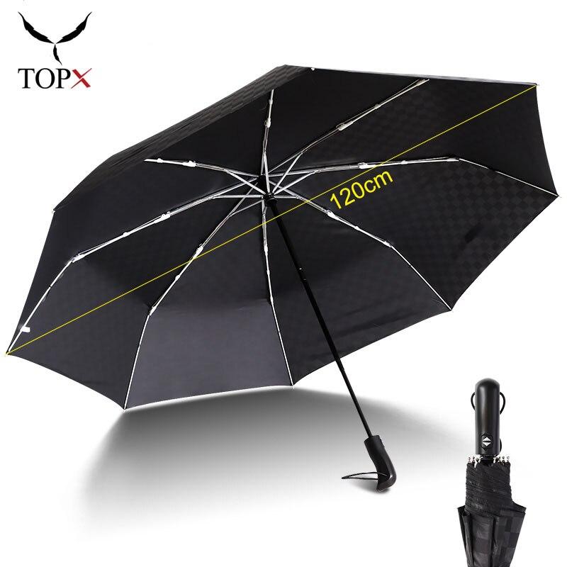 Paraguas plegable automático 3 de 120cm para lluvia de gran calidad a prueba de viento, paraguas familiar grande, paraguas de regalo para hombres de negocios, paraguas de Paraguay