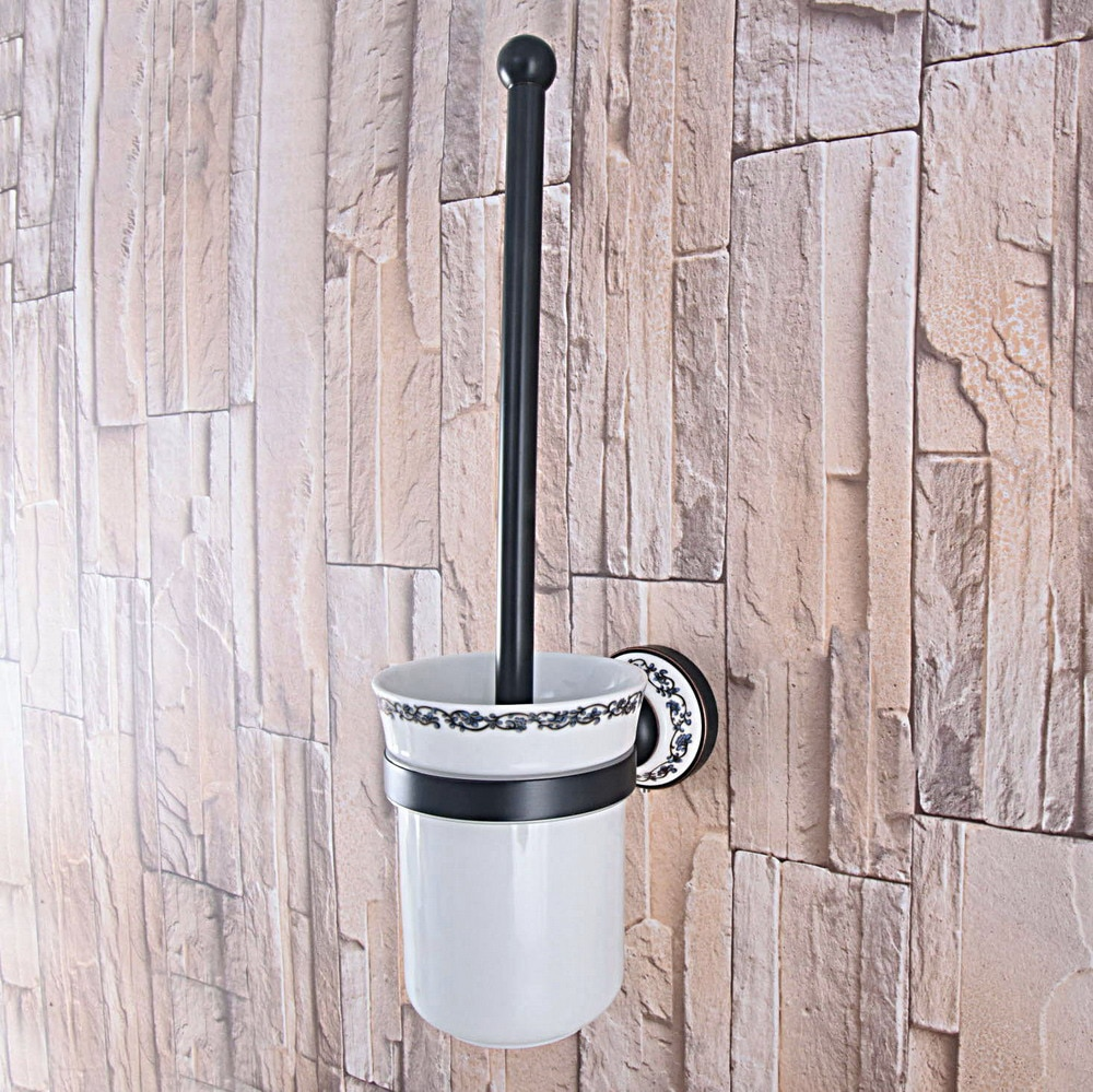 أسود النفط يفرك البرونزية الحائط سيراميك الحمام كأس والنحاس حامل فرشاة المرحاض tba763