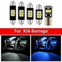 11pcs car white interior led light bulbs package kit for kia borrego 2008 map dome trunk lamp iceblue
