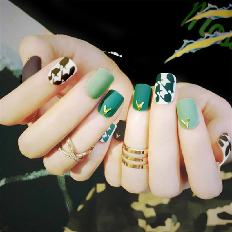24Pcs/Set DIY Nail Art Tools Wholesale Women Green Paragraph Fake Finger Nails False Nail Lady Full