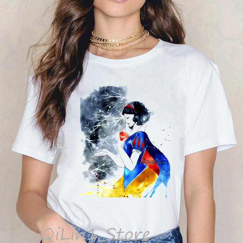 Hot sale watcolor villain queen snow white printed tshirt women vogue hocus pocus t shirt femme streetwear kawaii woman clothes