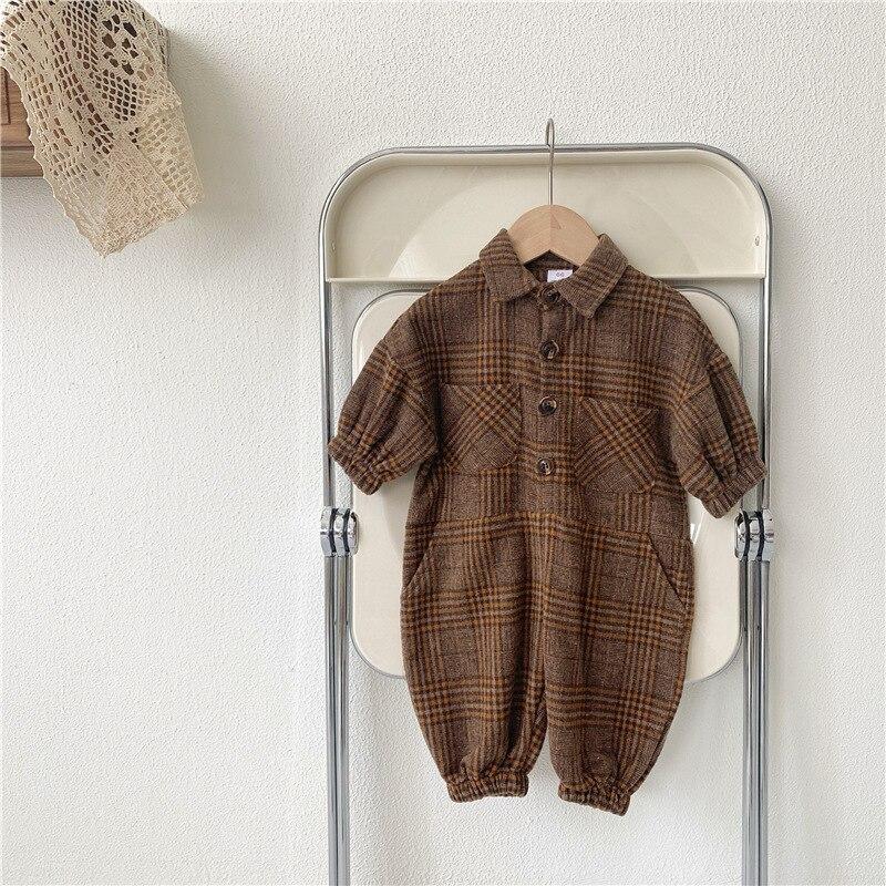 2021 New Baby Boy Retro Plaid Romper Autumn Long Sleeve Newborn Clothes Cotton Infant Kids Jumpsuit