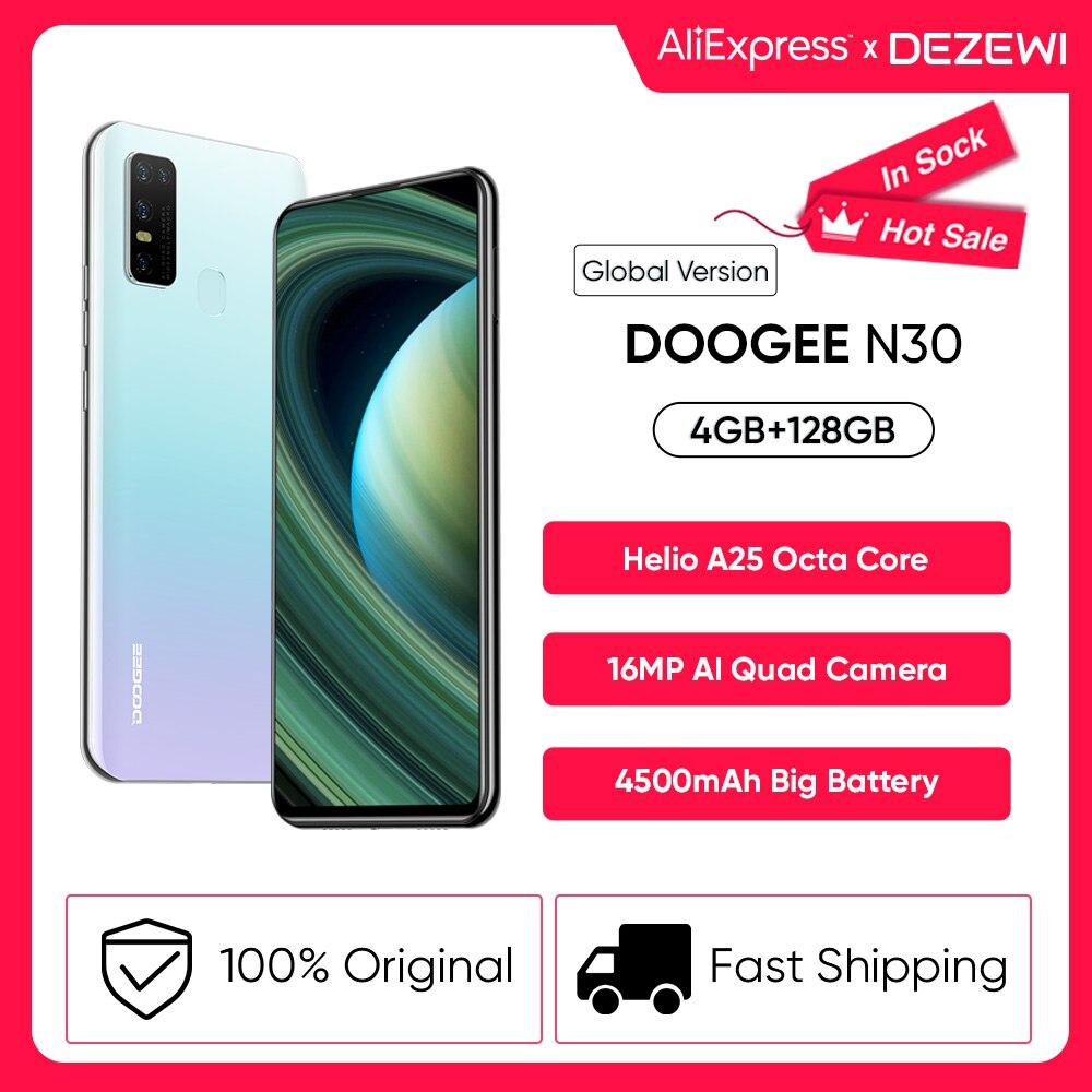 DOOGEE N30 полный нетком 6,55 дюйм Экран Quad Камера 4 Гб 128 Встроенная память Helio A25 Octa Core глобальная версия мобильного телефона 4500mAh большой Батарея
