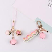 Creative Asakusa Pink Temple Peach Ring Keychain Defensive Luck Love Career Praying Keyring Earphones Bag Hanging Key Chain Gift