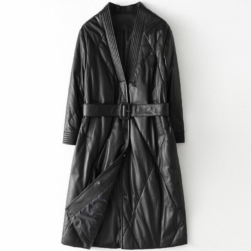 Winter Black Formal Leather Down Slim Long Coat Spring New Sheepskin Coat for Women Loose Oversize Outwears Windproof Jacket