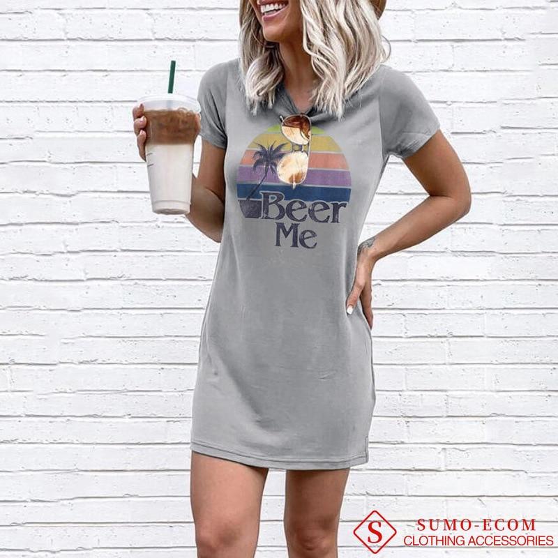 Vestido Vintage de verano 2020 para mujer, estilo Preppy con estampado de letras chica cerveza Me, vestido informal de talla grande, minivestido de Jersey para S-XXL
