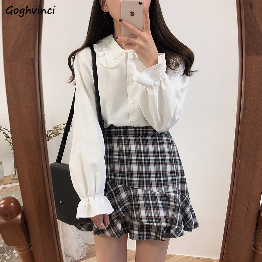 Long Flare Sleeve Blouses Women Peter Pan Collar Preppy Style Students Sweet Teens Leisure Sun-proof Chic Retro Simple All-match